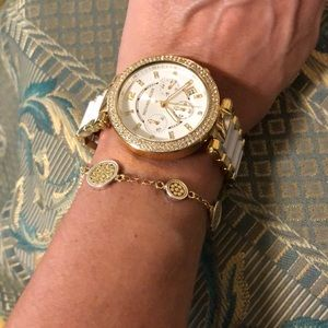 Michael Kors women's white and gold watch